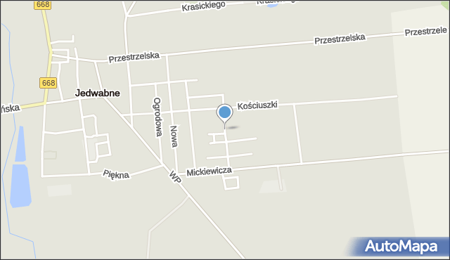 Jedwabne, Rembielińskiego Rajmunda, mapa Jedwabne