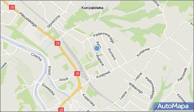 Limanowa, Rejtana Tadeusza, mapa Limanowa