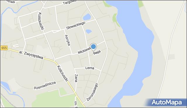 Olecko, Reja Mikołaja, mapa Olecko