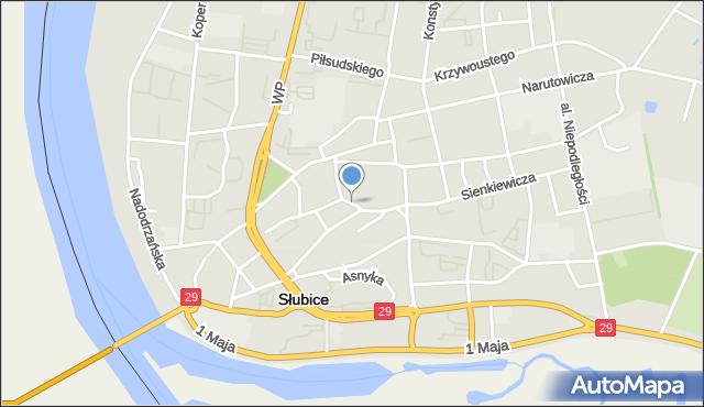 Słubice, Reja Mikołaja, mapa Słubice