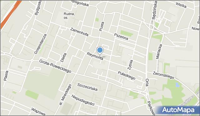 Sosnowiec, Reymonta Władysława, mapa Sosnowca