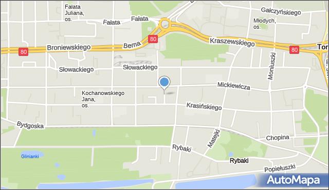 Toruń, Reymonta Władysława, mapa Torunia