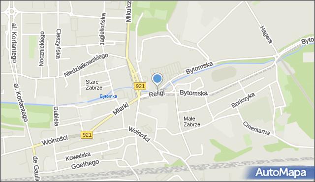 Zabrze, Religi Zbigniewa, prof., mapa Zabrza