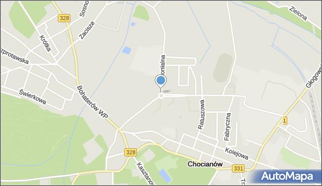 Chocianów, Rondo Chomickiego Włodzimierza, mapa Chocianów