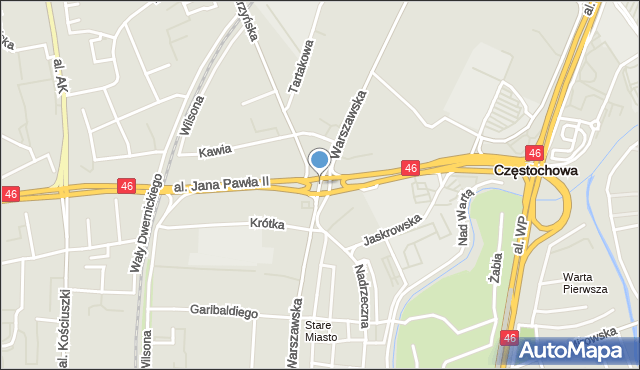 Częstochowa, Rondo Trzech Krzyży, mapa Częstochowy