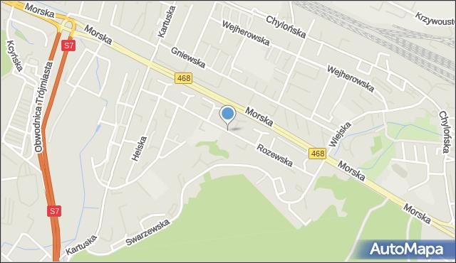 Gdynia, Rozewska, mapa Gdyni