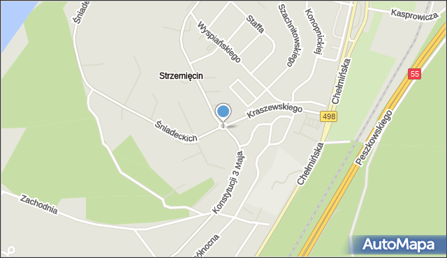 Grudziądz, Rondo Jasienicy Pawła, mapa Grudziądza