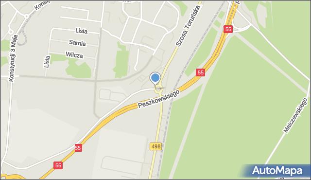 Grudziądz, Rondo Kaczorowskiego Ryszarda, Prezydenta RP na Uchodźstwie, mapa Grudziądza