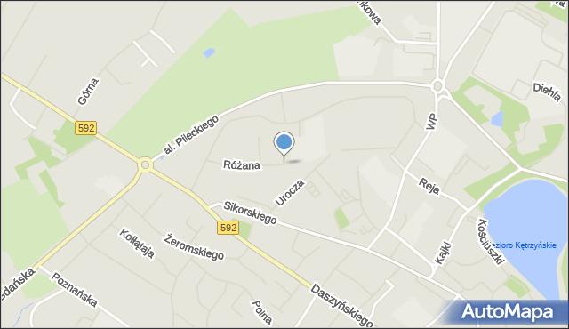 Kętrzyn, Różana, mapa Kętrzyn
