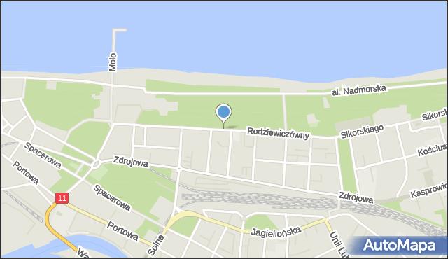 Kołobrzeg, Rodziewiczówny Marii, mapa Kołobrzegu