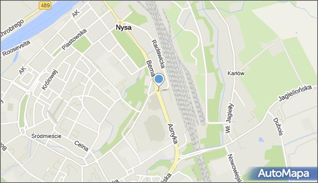 Nysa, Rondo Niepodległości, mapa Nysy