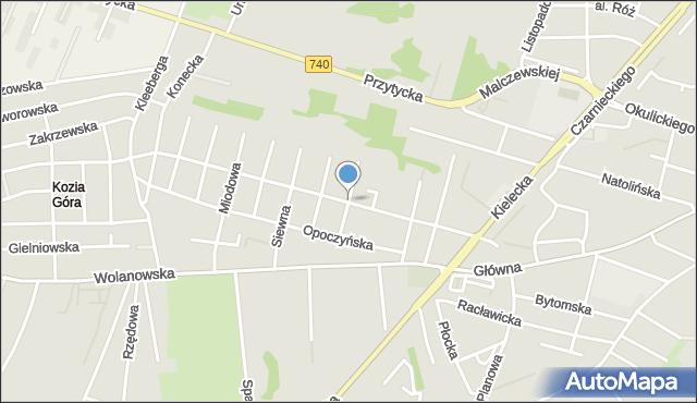 Radom, Robotnicza, mapa Radomia