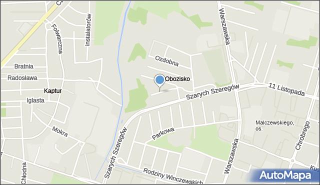 Radom, Różana, mapa Radomia