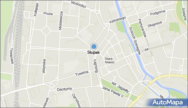 Słupsk, Rondo Solidarności, mapa Słupska