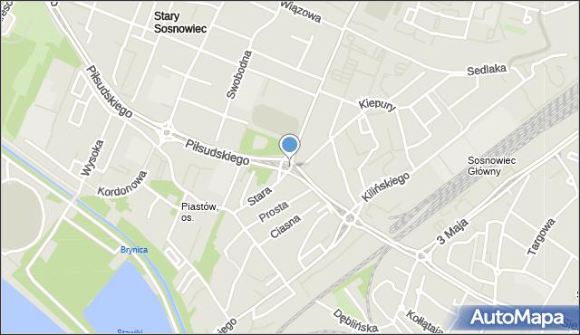 Sosnowiec, Rondo Uznańskiego Czesława, mapa Sosnowca