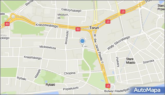 Toruń, Rondo Herberta Zbigniewa, mapa Torunia