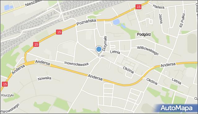 Toruń, Rondo Kuronia Jacka, mapa Torunia