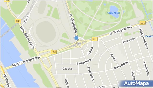 Warszawa, Rondo Waszyngtona Jerzego, mapa Warszawy