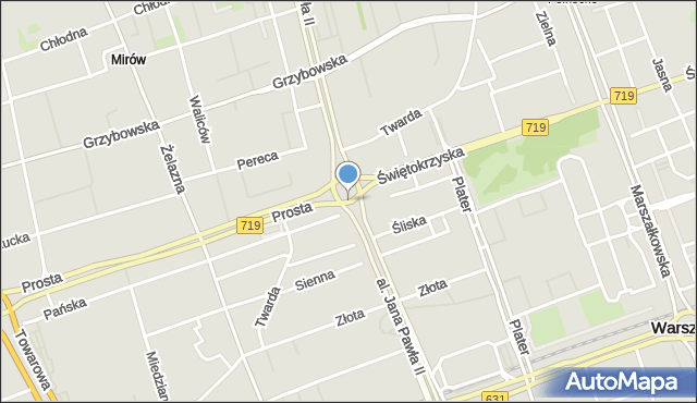 Warszawa, Rondo ONZ, mapa Warszawy