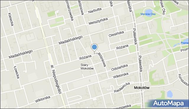 Warszawa, Różana, mapa Warszawy