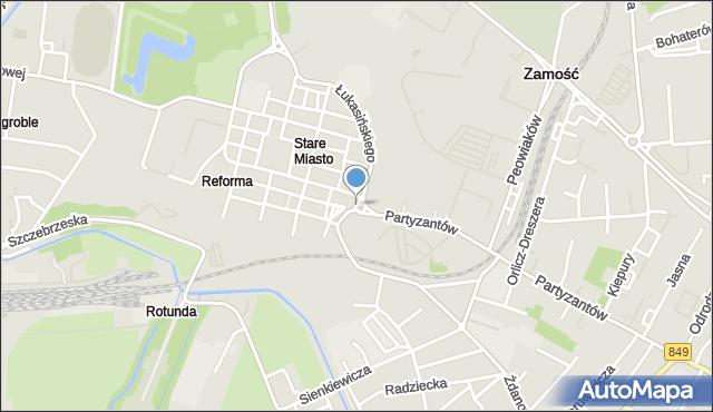 Zamość, Rondo Braci Pomarańskich, mapa Zamościa