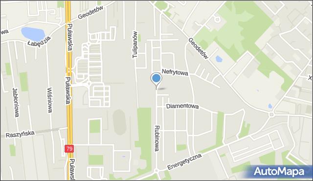 Piaseczno, Rubinowa, mapa Piaseczno