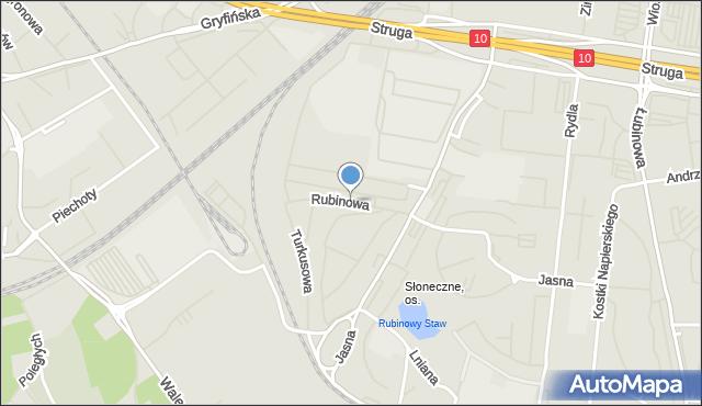 Szczecin, Rubinowa, mapa Szczecina