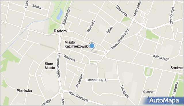 Radom, Rwańska, mapa Radomia