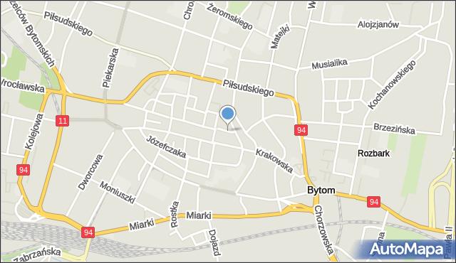 Bytom, Rycerska, mapa Bytomia