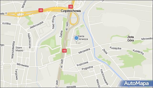 Częstochowa, Rybna, mapa Częstochowy