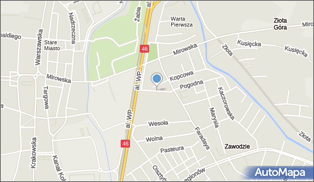 Częstochowa, Rynek Narutowicza Gabriela, mapa Częstochowy