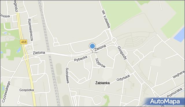 Gdańsk, Rybacka, mapa Gdańska