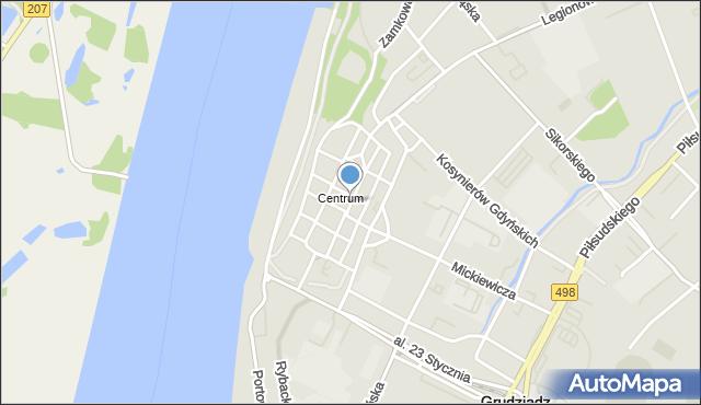 Grudziądz, Rynek Główny, mapa Grudziądza