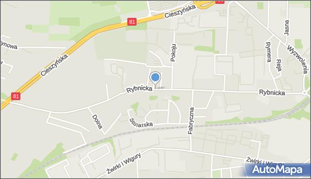 Mikołów, Rybnicka, mapa Mikołów