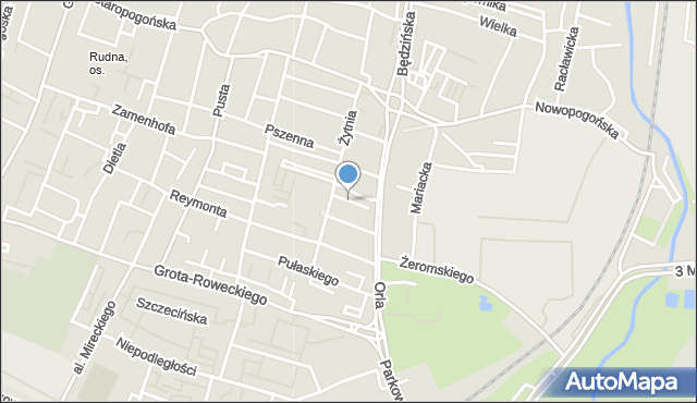 Sosnowiec, Rysia, mapa Sosnowca