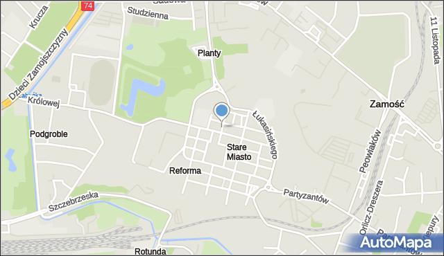 Zamość, Rynek Solny, mapa Zamościa