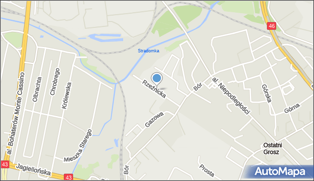 Częstochowa, Rzeźnicka, mapa Częstochowy