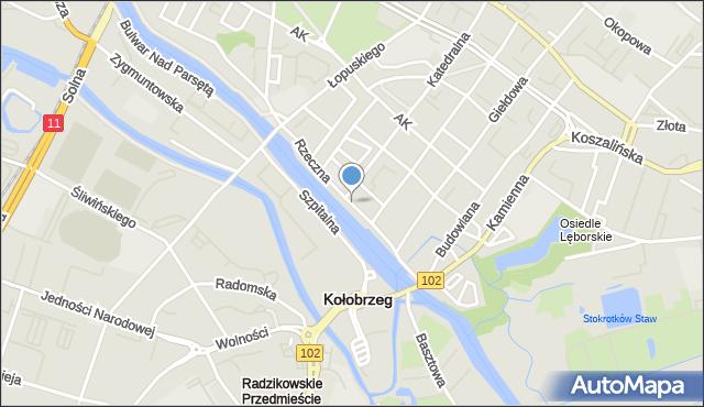 Kołobrzeg, Rzeczna, mapa Kołobrzegu