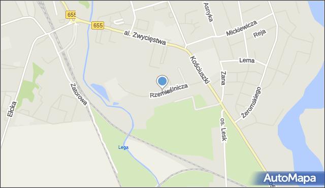 Olecko, Rzemieślnicza, mapa Olecko