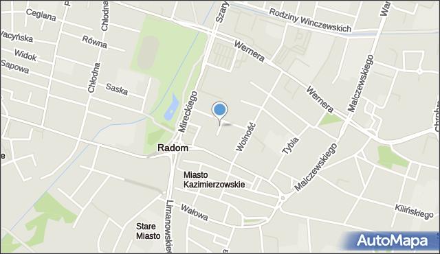 Radom, Rzemieślnicza, mapa Radomia
