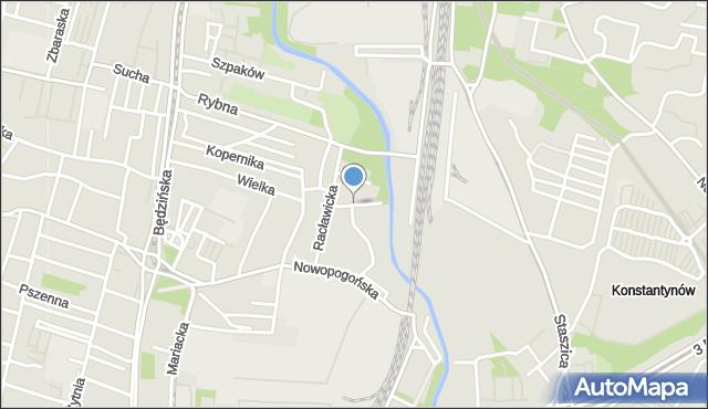Sosnowiec, Rzeczna, mapa Sosnowca