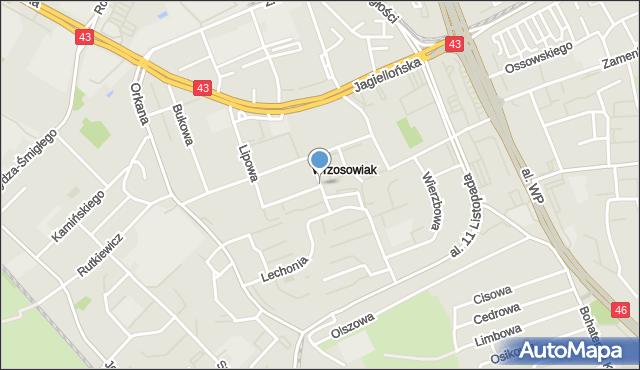 Częstochowa, Sadowa, mapa Częstochowy