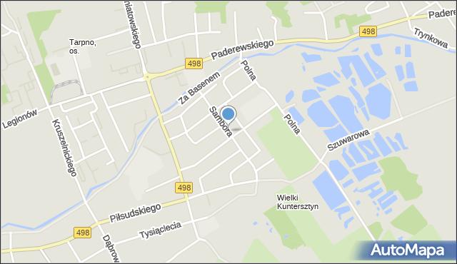 Grudziądz, Sambora, mapa Grudziądza