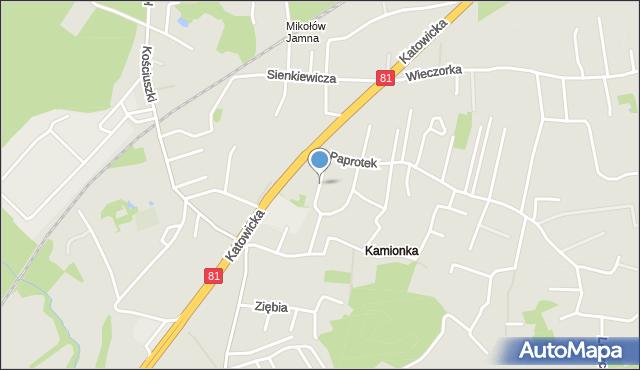Mikołów, Sadowa, mapa Mikołów