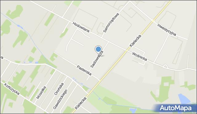 Radom, Sadownicza, mapa Radomia