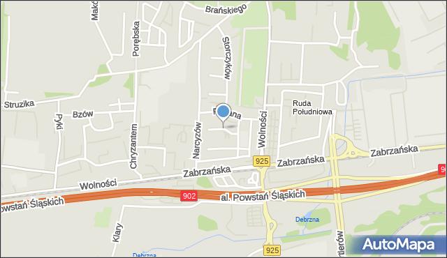 Ruda Śląska, Sasanek, mapa Rudy Śląskiej
