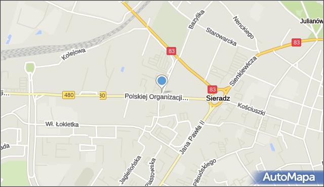Sieradz, Sarańska, mapa Sieradz