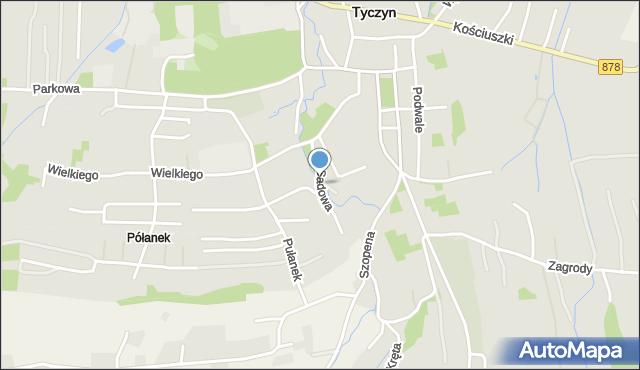 Tyczyn powiat rzeszowski, Sadowa, mapa Tyczyn powiat rzeszowski
