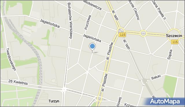 Szczecin, Ściegiennego Piotra, ks., mapa Szczecina