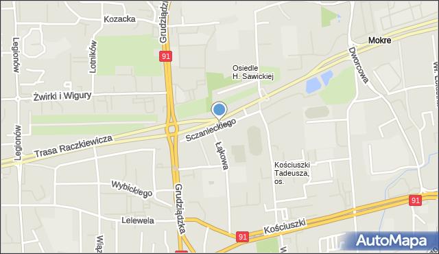 Toruń, Sczanieckiego Michała, mapa Torunia